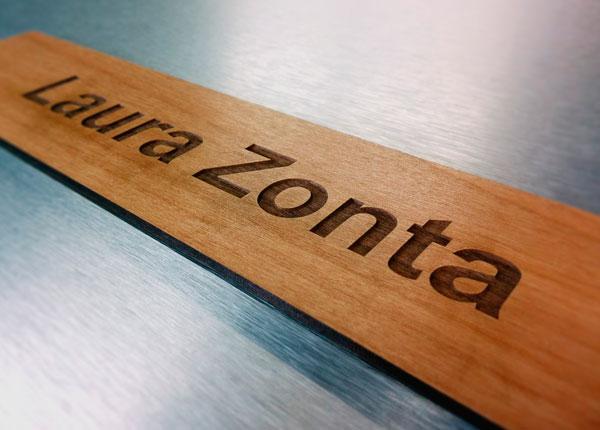 Professional laser engraved wooden nameplate